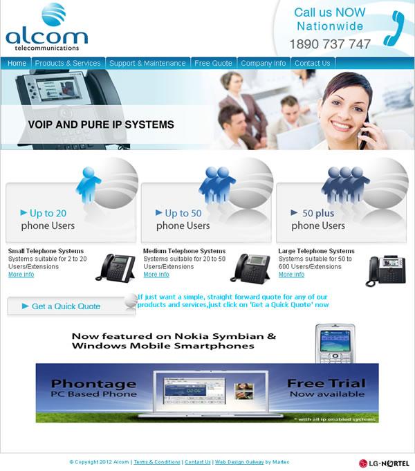 Alcom Telecom Galway Website Design