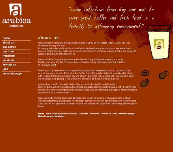 Arabica Coffee Galway Web Site Design