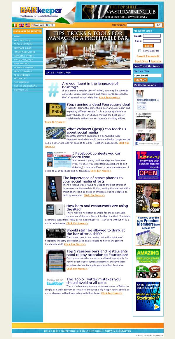 Barkeeper Hospitality Website