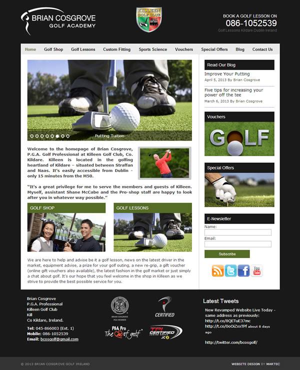 Brian Cosgrove Golf Professional Website Design Kildare Ireland