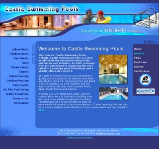 Castle Swimming Pools Website Design