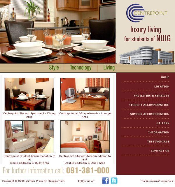 Centerpoint Galway Student Accommodation Website Design