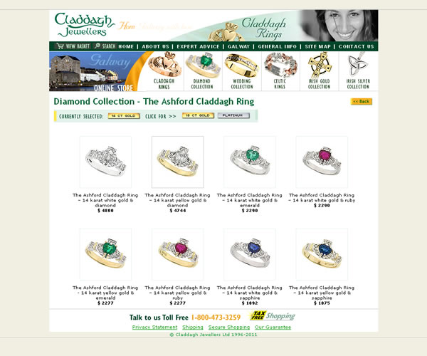 Claddagh Jewellers Ecommerce Website