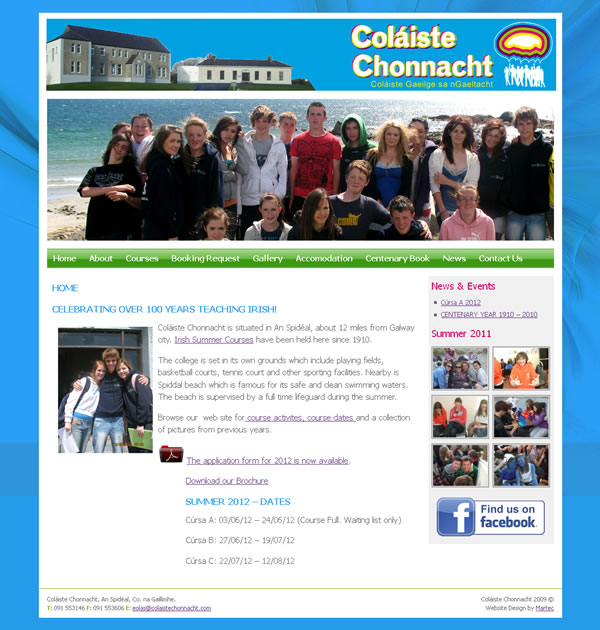 Colaiste Chonnacht Galway Language School Website