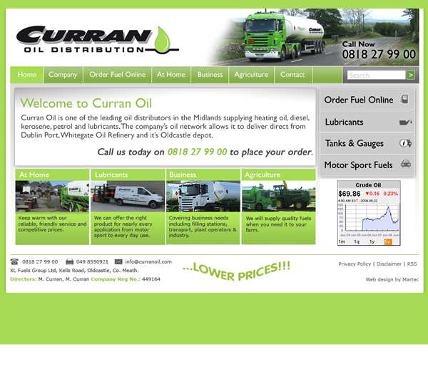 Curran Oil Meath Website Design