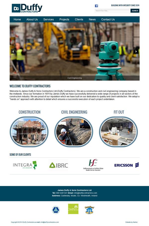 Duffy Contractors Website Design Westmeath