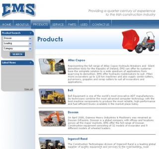 EMS Machinery Dublin Website Design