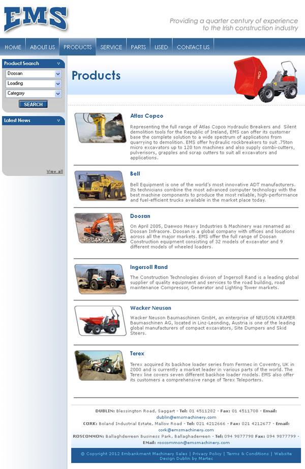 EMS Machinery Dublin Website Design