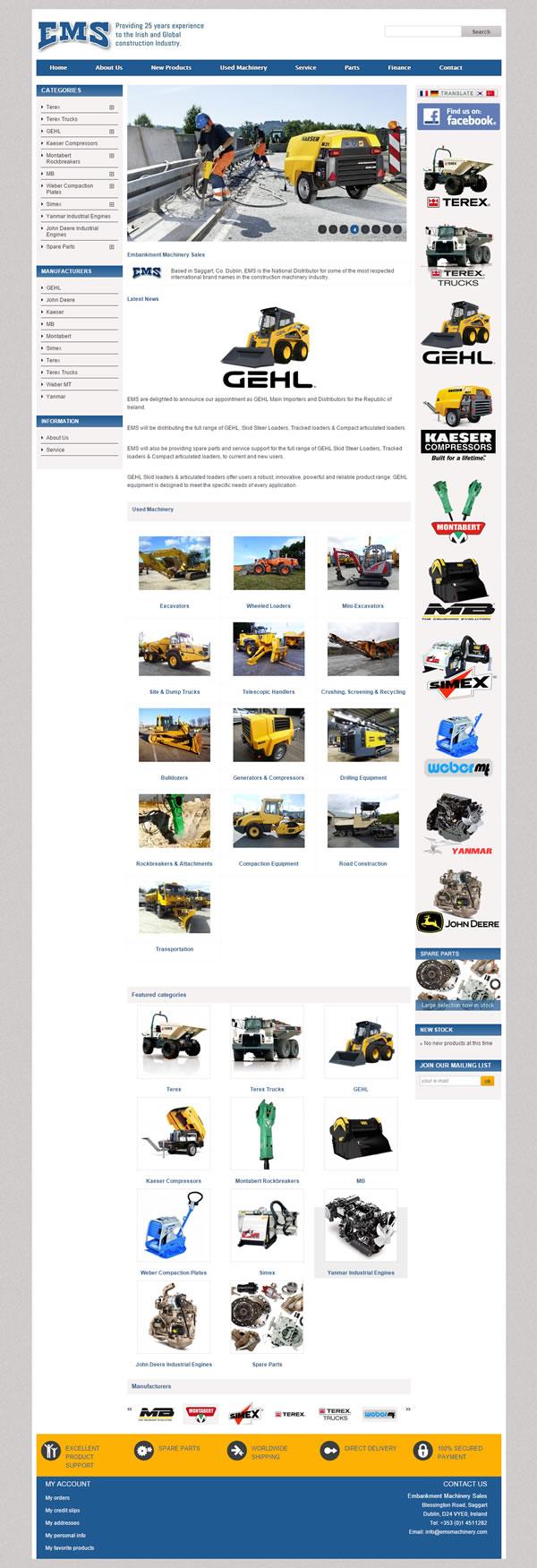 EMS Machinery Sales Ecommerce Website Design Ireland