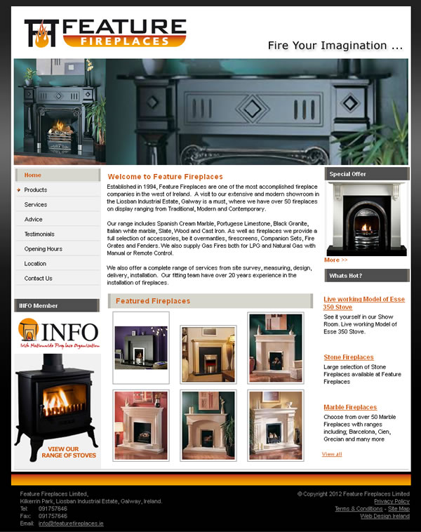 Feature Fireplaces Galway Website Development
