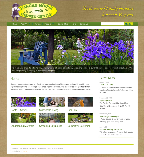 Galway garden centre website design web design galway for Garden design galway