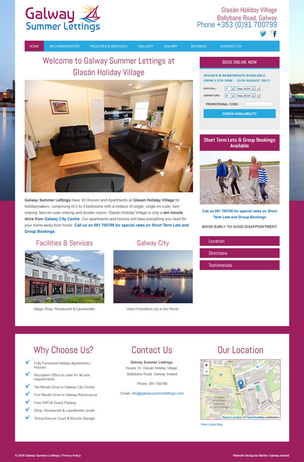 Galway Student Lettings Galway Web Site Design & Logo