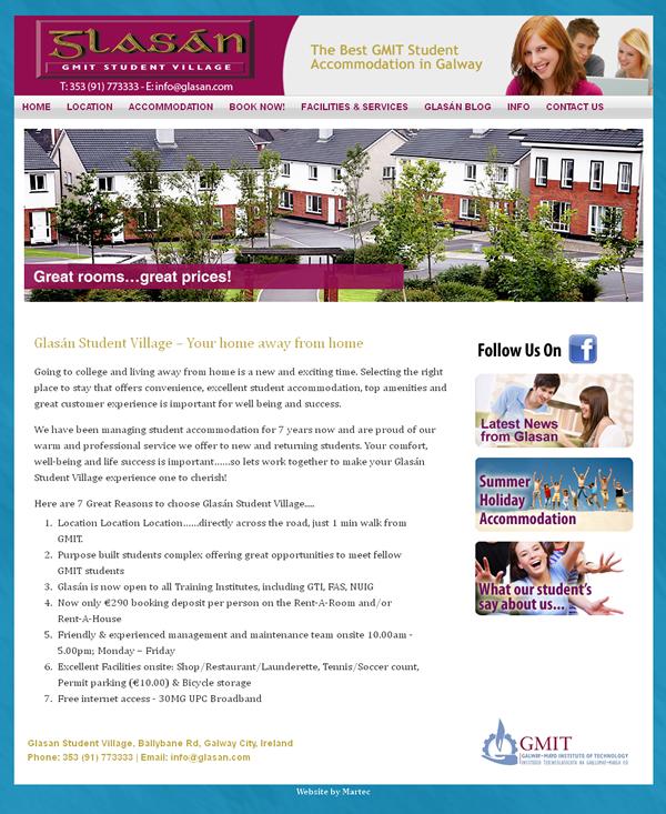 Glasan Student Village Galway Website Design