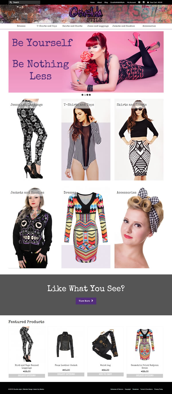 Grushie style Fashion Ecommerce Web Site Design Dublin