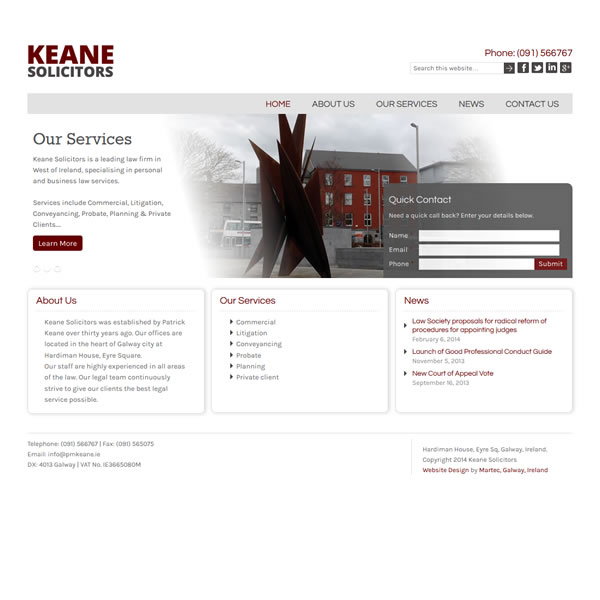 Keane Solicitors Galway Logo & Web Design