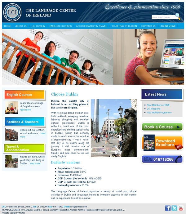 LCI Language School Dublin Website Design