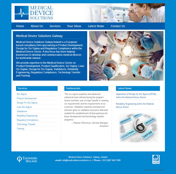Medical Device Solutions Website Galway