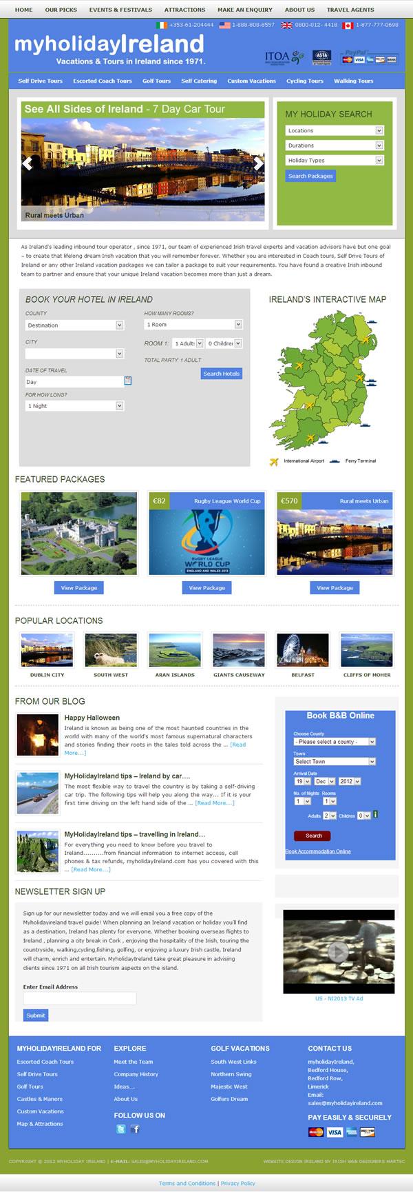 My Holiday Ireland Website Design
