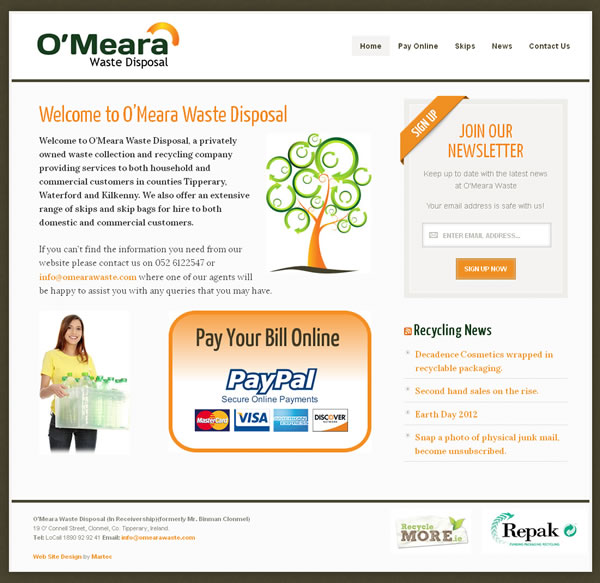 OMeara Waste Disposal Logo and Website Design