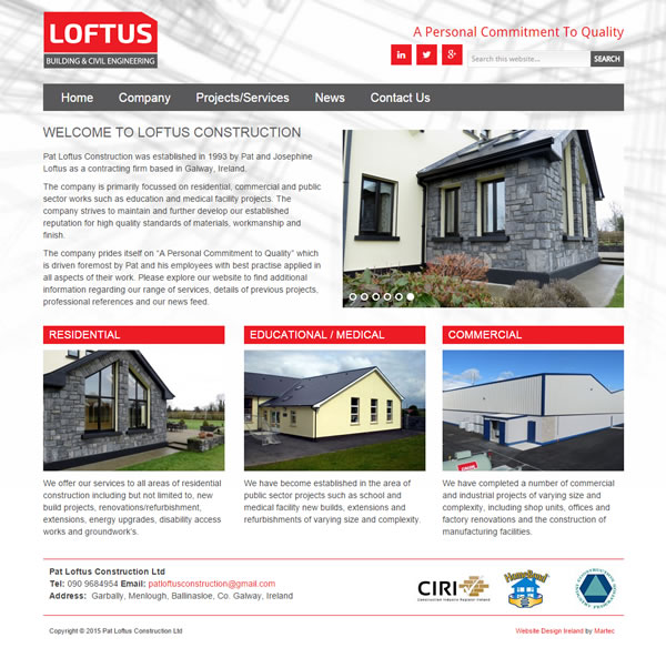 Pat Loftus Construction Ireland Logo & Web Site Design