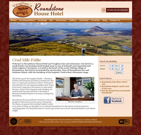 Roundstone House Hotel Website Design