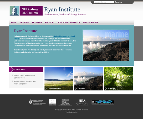 Ryan Institute Galway Website Design
