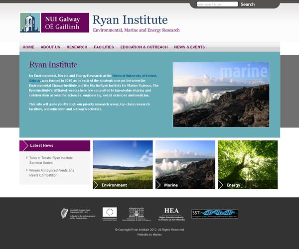 Ryan Institute Galway Website Design