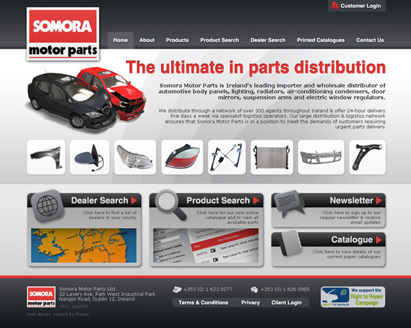 Somora Motor Parts Dublin Website Design
