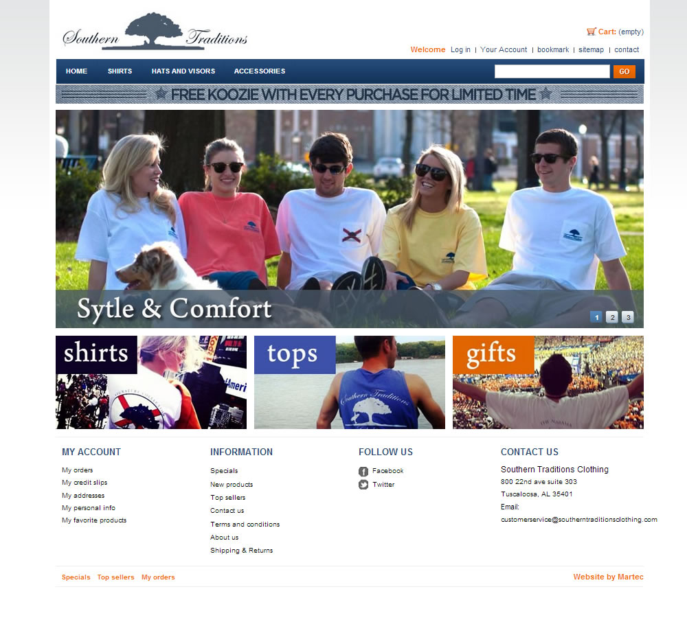 Southern traditions tshirt ecommerce website web design for T shirt ecommerce website