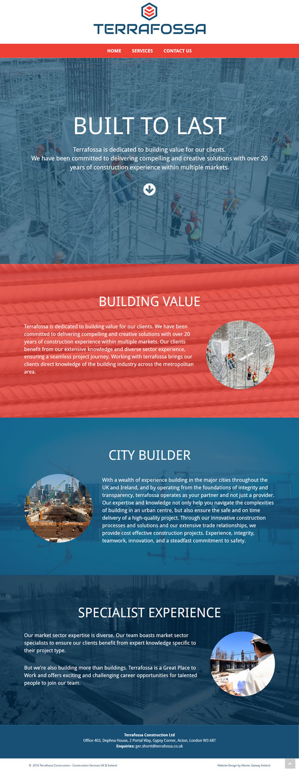 Terrafossa Construction Web Design & Logo Design