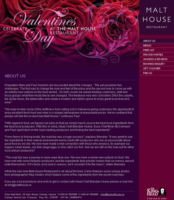 The Malt House Restaurant Galway Website Design