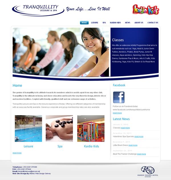Tranquillity Leisure Galway Website Design