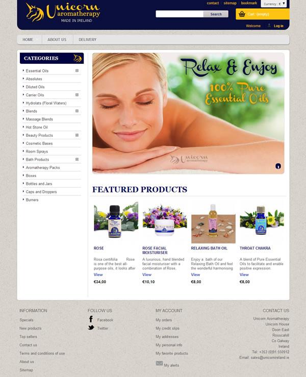 Unicorn Aromatherapy Galway Logo & Ecommerce Web Site Design