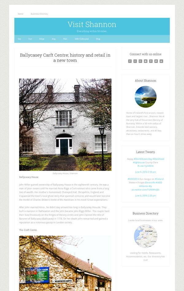 Visit Shannon Tourist Website Design