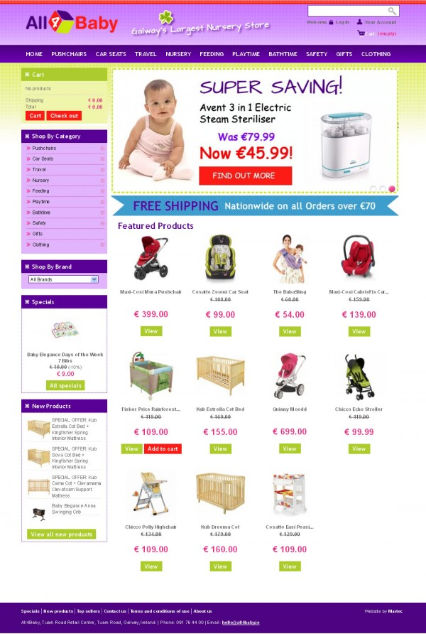 all4baby galway ecommerce web site design