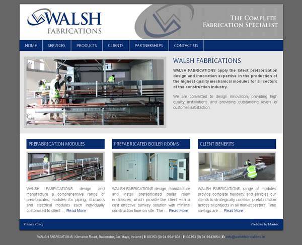 walsh fabrications mayo website design