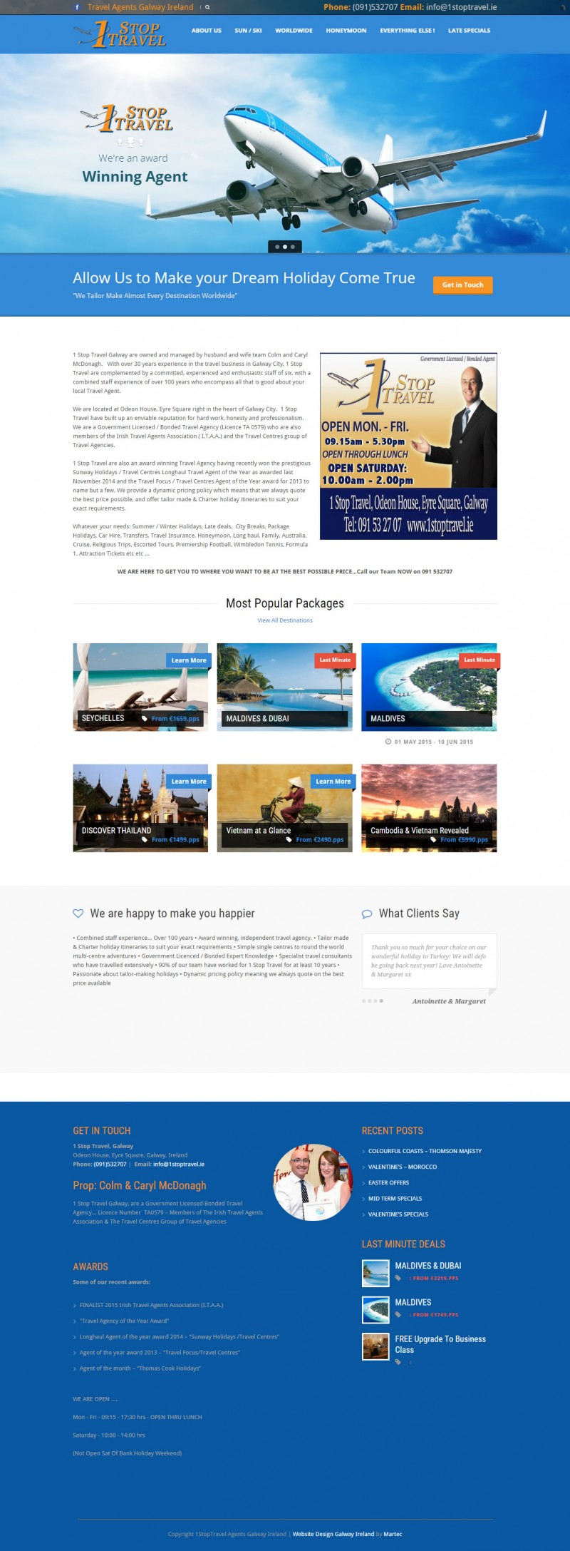 1 Stop Travel Agents Web Design Galway Ireland