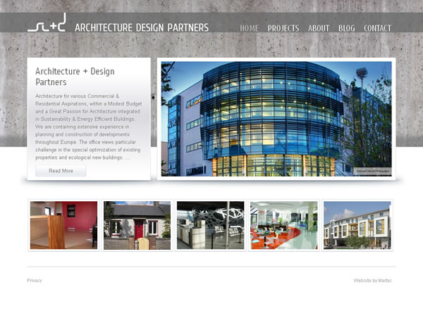Architecture design partners galway website web design for Architect website design