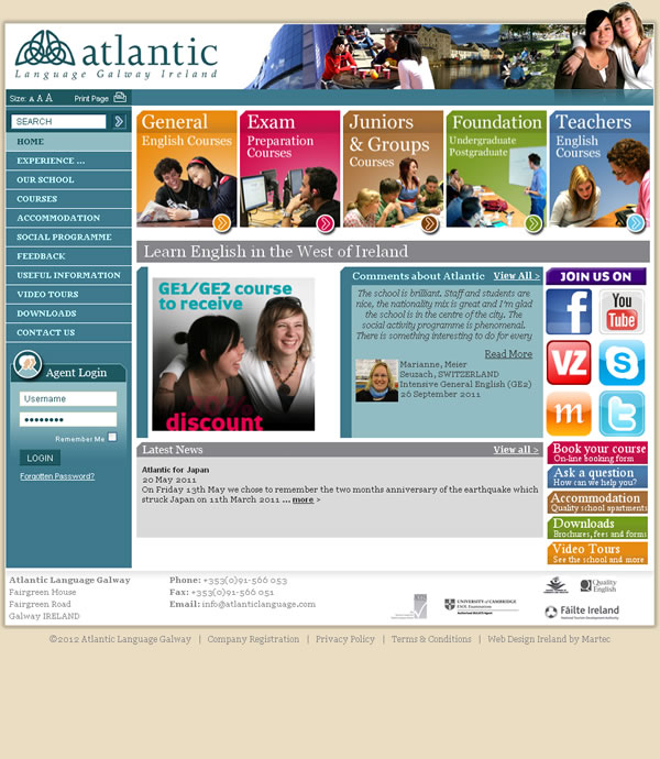 Atlantic Language Galway Website Design