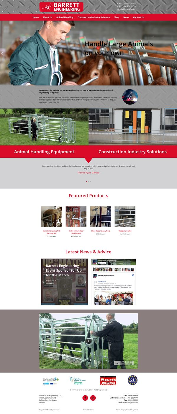 Barrett Engineering Ecommerce Web Design Galway