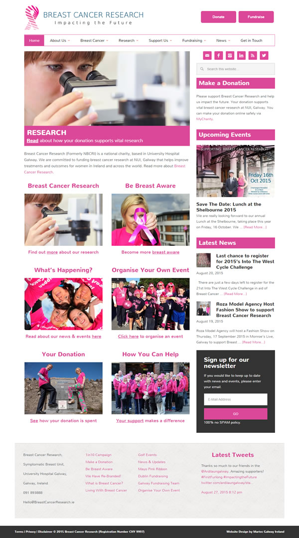 Breast Cancer Research Ireland Website Design