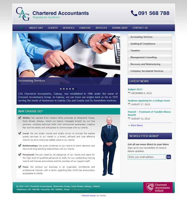 CAG Chartered Accountants Website Galway Ireland - Web Design ...