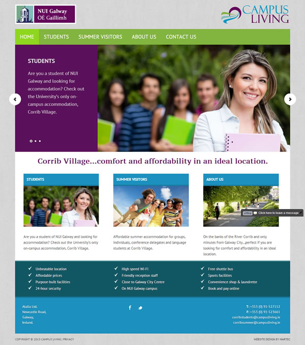 Campus Living Galway Logo & Website Design