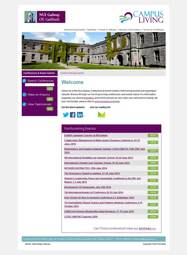 Conference NUI Galway Website Design