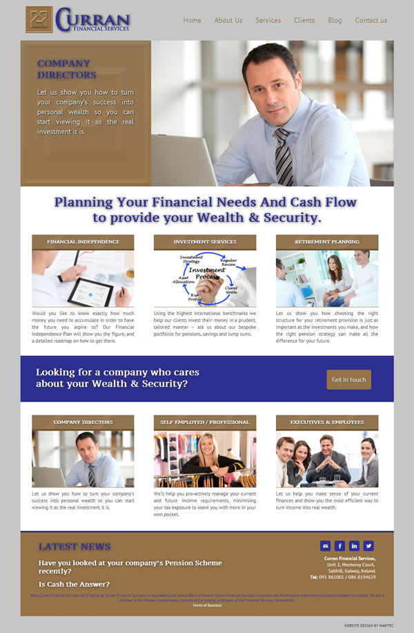 Curran Financial Services Galway Website Design