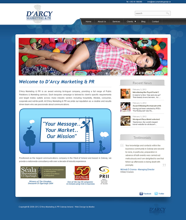 Darcy Marketing and PR Galway Web Design