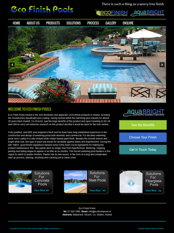 Eco Finish Pools Website Design Dublin