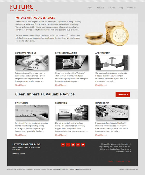 Future Financial Services Website Design Galway Ireland