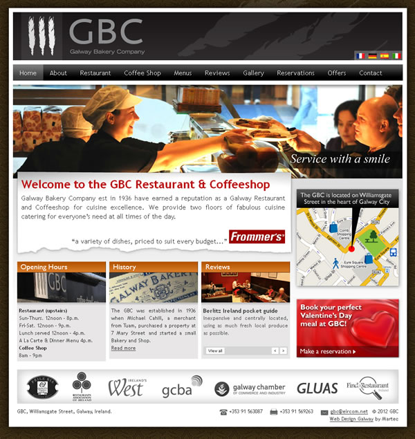 GBC Restaurant Galway Website Design