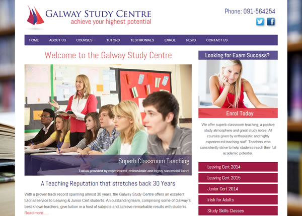 Galway Study Centre Logo & Web Site Design